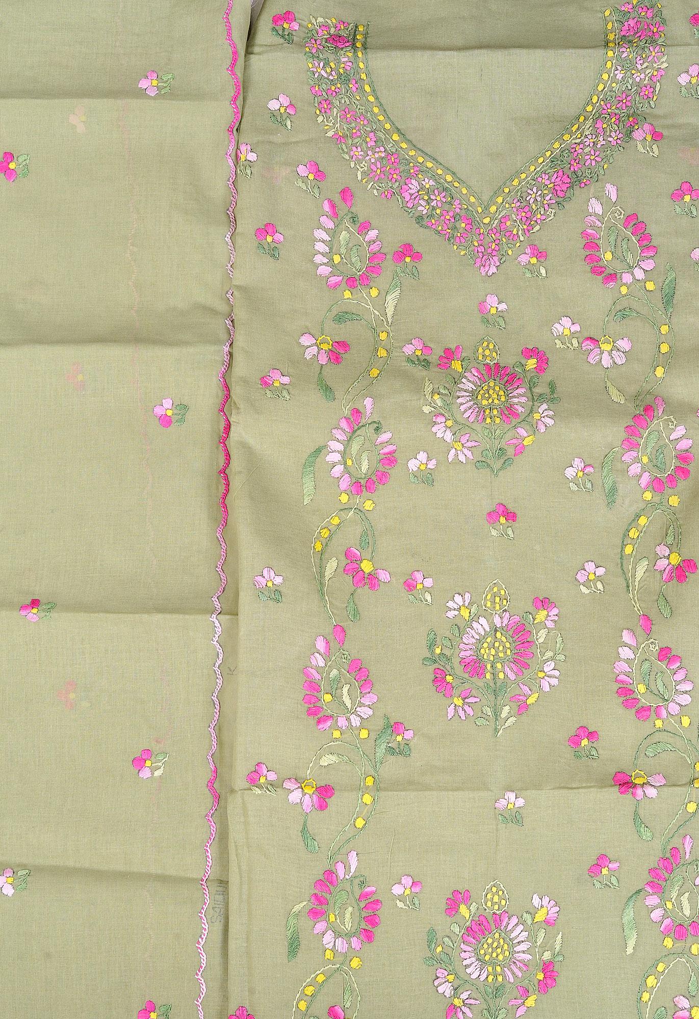 Winter pear salwar kameez fabric from kolkata with kantha
