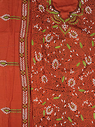 Bombay-Brown Salwar Kameez Fabric from Kolkata with Kantha Embroidery by Hand