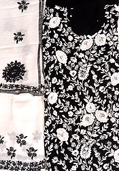 Black and White Salwar Kameez Fabric with Phulkari Embroidered Flowers and Sequins