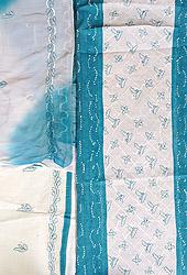 White and Harbor-Blue Lukhnavi Chikan Embroidered Salwar Kameez Fabric