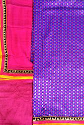 Purple and Pink Banarasi Salwar Kameez Fabric with Woven Bootis and Patch Border
