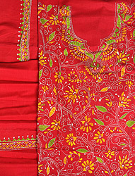 Chili-Pepper Salwar Kameez Fabric from Kolkata with Kantha Stitched Embroidery
