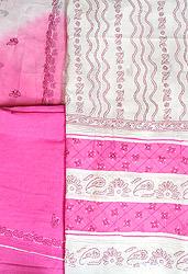 White and Pink Embroidered Lukhnavi Chikan Salwar Kameez Fabric