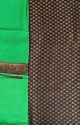 Black and Green Banarasi Salwar Kameez Fabric with Woven Bootis