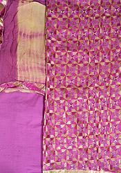 Iris-Orchid Salwar Kameez Fabric from Punjab with Phulkari Embroidery