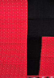 Claret-Red Salwar Kameez Fabric from Pochampally with Ikat Weave