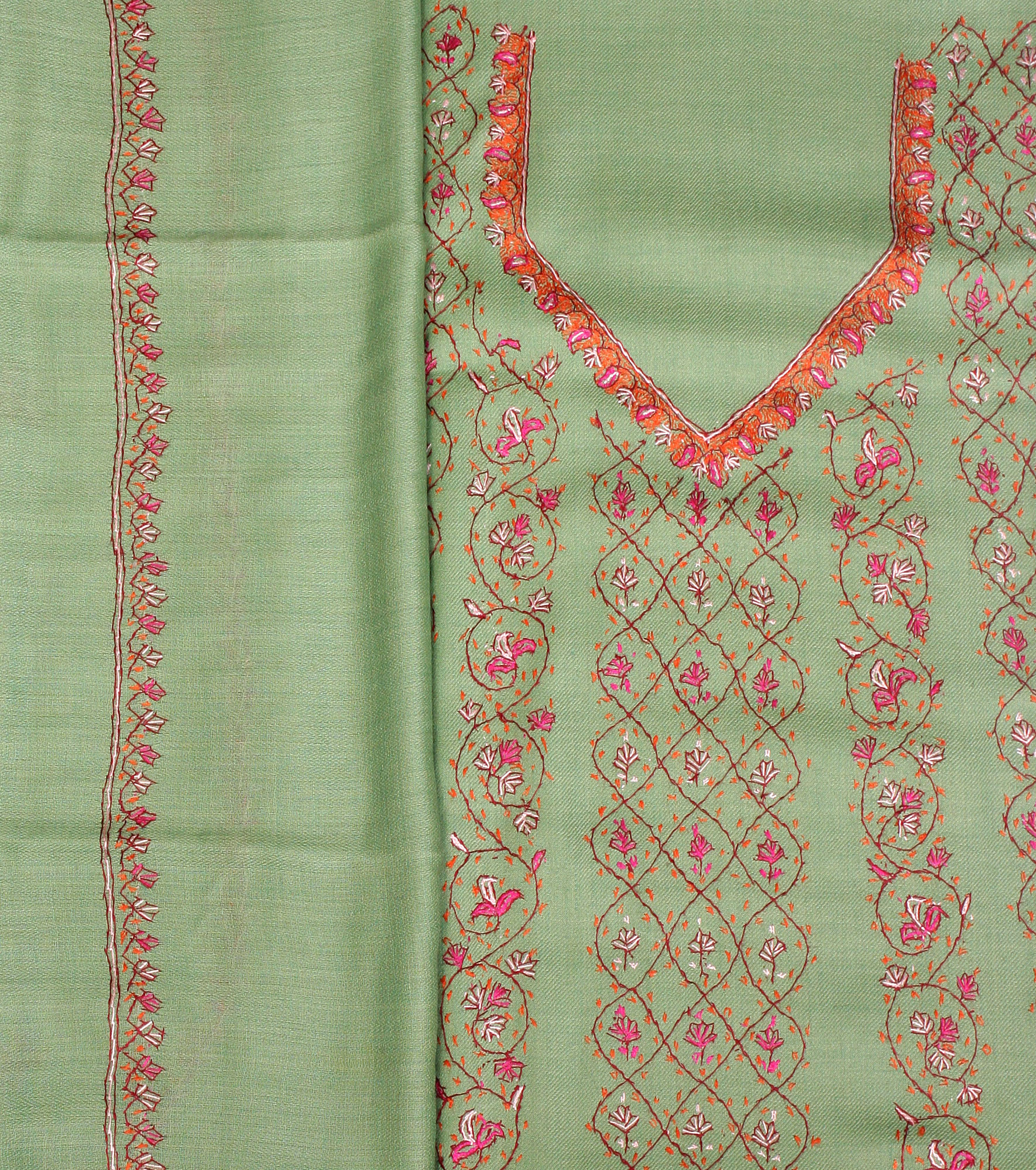 Fair green sozni hand embroidered salwar kameez fabric