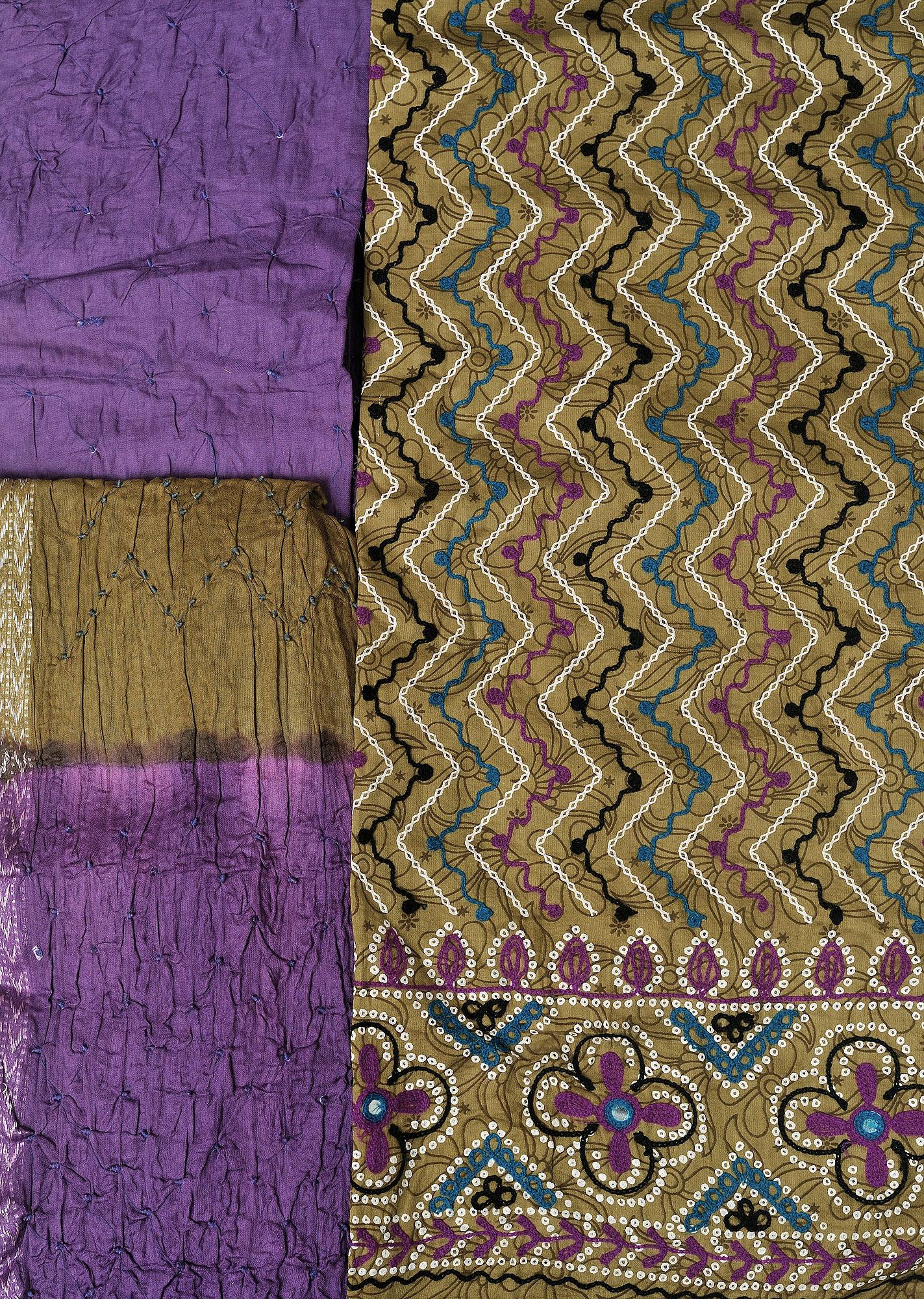 Ecru olive and purple salwar kameez fabric from gujarat