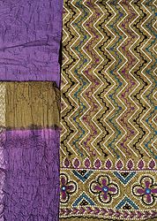 Ecru-Olive and Purple Salwar Kameez Fabric from Gujarat with Ari Embroidery