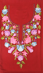 Garnet-Red Two-Piece Salwar Kameez Fabric from Kashmir with Ari Embroidered Flowers by Hand