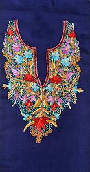 Twilight-Blue Two-Piece Kashmiri Salwar Kameez Fabric with Ari Hand-Embroidery on Neck in Multicolor Thread