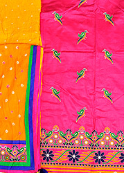 Salwar Kameez Fabric from Gujarat with Embroidered Parrots and Bandhani Dupatta
