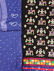Salwar Kameez Fabric from Gujarat with Embroidered Ikat Motifs and Bandhani Dupatta