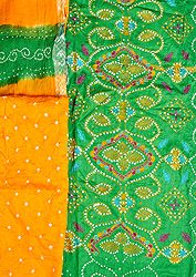 Green and Yellow Embroidered Bandhani Tie-Dye Salwar Kameez Fabric from Gujarat with Sequins