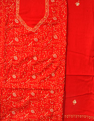 Fiery-Red Tusha Salwar Kameez Fabric from Kashmir with Sozni Hand-Embroidery All-Over