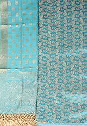 Banarasi Kora Salwar Kameez Fabric with Woven Paisleys