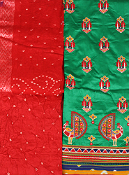 Green and Red Salwar Kameez Fabric from Gujarat with Embroidery and Mirrors