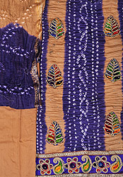 Bandhani Tie-Dye Salwar Kameez Fabric from Gujarat with Embroidered Leaves