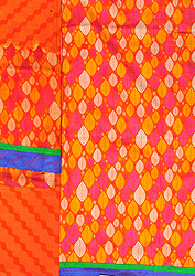 Vibrant-Orange Salwar Kameez Fabric with Printed Bootis and Patch Border