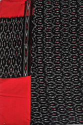 Black and Red Salwar Kameez Fabric from Pochampally with Ikat Weave