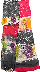 Bandhani Tie-Dye Lehenga Choli Fabric from Jaipur with Large Sequins and Hanging Shells on Dupatta