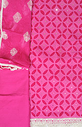 Wild-Orchid Cut-Work Salwar Kameez Fabric with Mirrors and Crochet Border