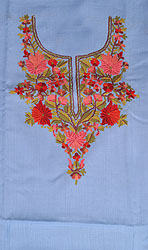 Dusk-Blue Two-Piece Salwar Kameez Fabric from Kashmir with Ari Hand-Embroidery on Neck