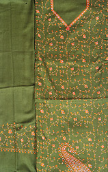Calla-Green Tusha Salwar Kameez Fabric from Kashmir with Sozni Hand-Embroidery All-Over