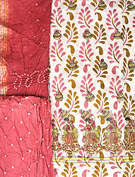 Salwar Kameez Fabric from Gujarat with Embroidered Women and Printed Leaves
