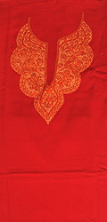 Tomato-Red Two-Piece Salwar Kameez Fabric from Kashmir with Hand-Ari Hand-Embroidered Paisleys on Neck