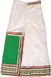 Egret-White and Green Lehenga Choli Fabric with Self-Weave and Embroidered Patch Border