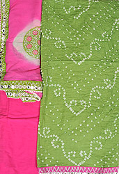 Tendril-Green and Pink Bandhani Tie-Dye Salwar Kameez Fabric from Gujarat with Large Sequins on Border