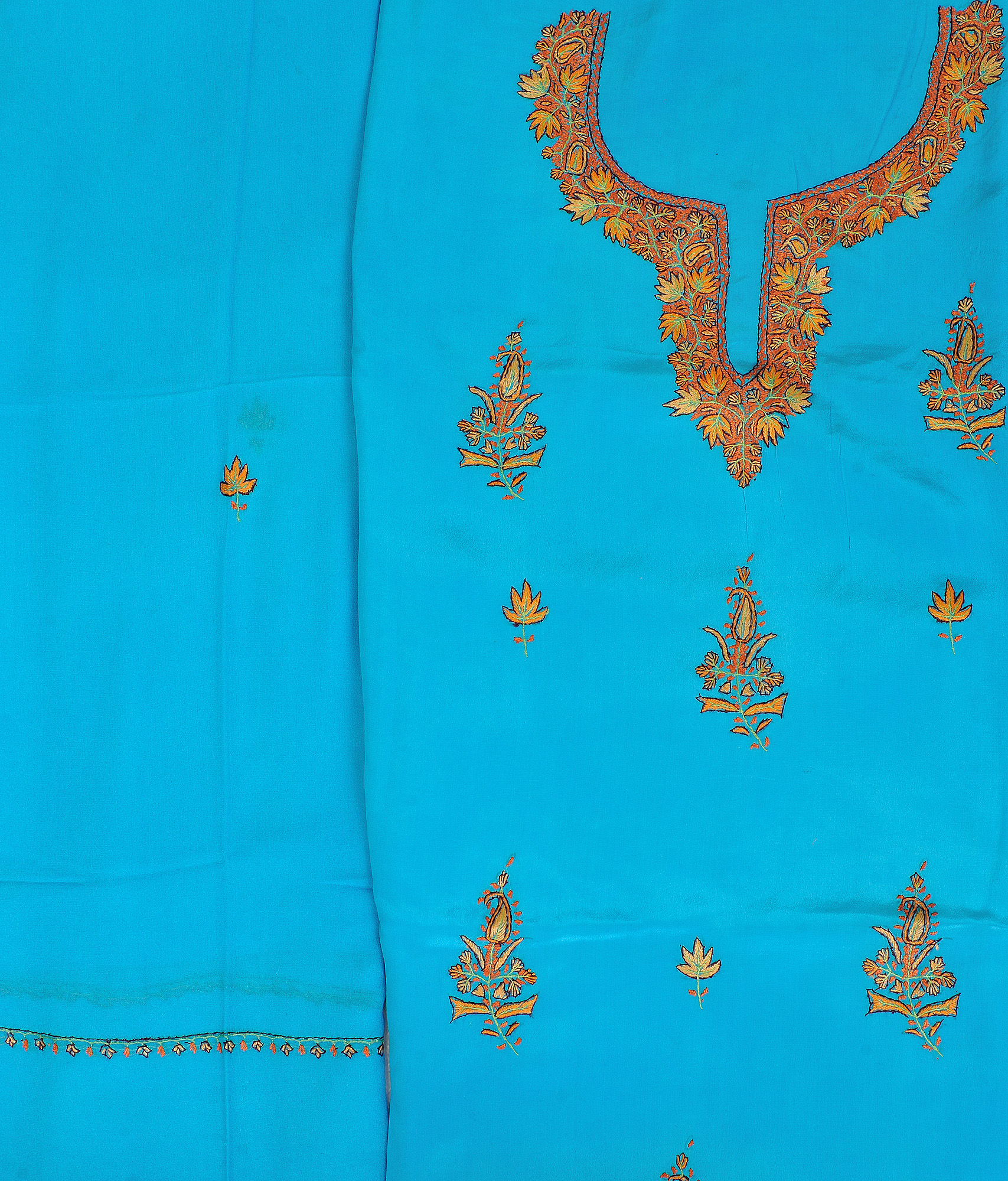 Blue atoll salwar kameez fabric from kashmir with sozni