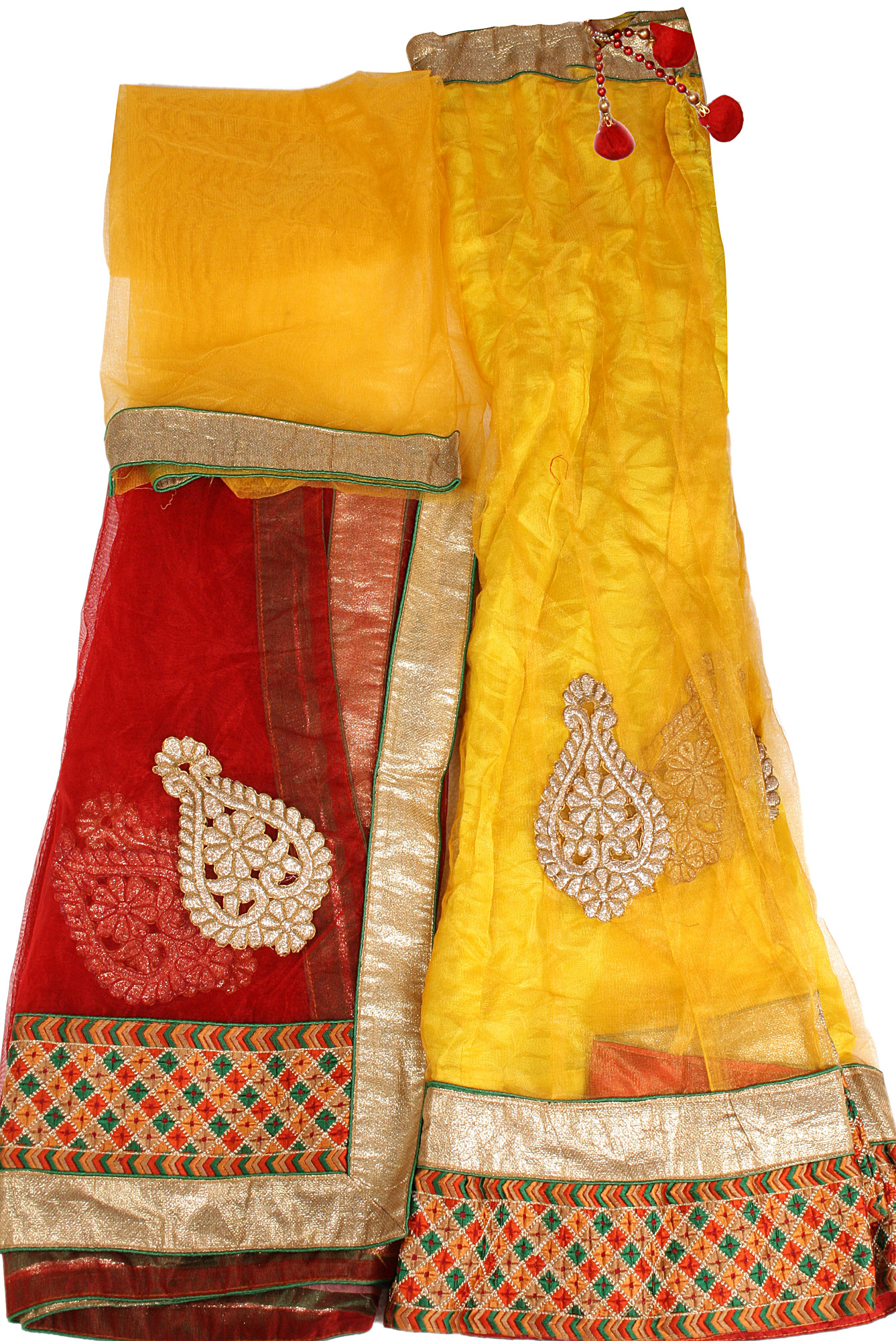 Freesia And Red Lehenga Choli Fabric With Embroidered Patches