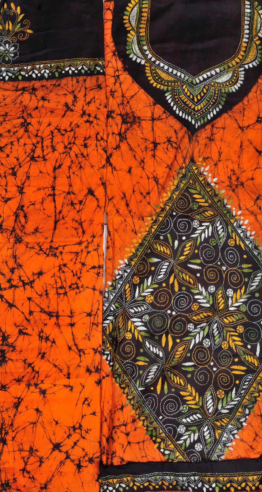 Orange and black batik salwar kameez fabric from kolkata