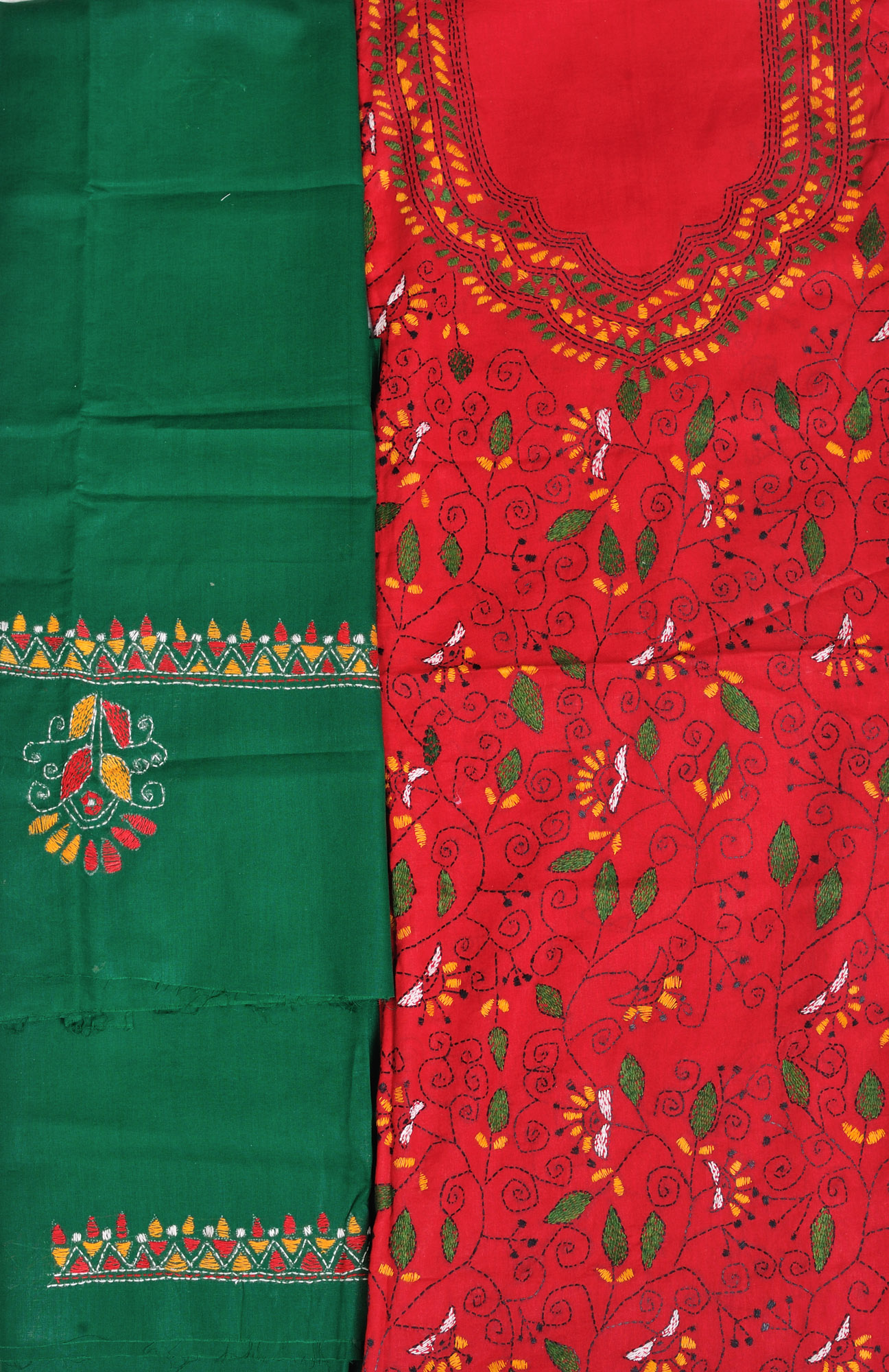 Red and green salwar kameez fabric from kolkata with