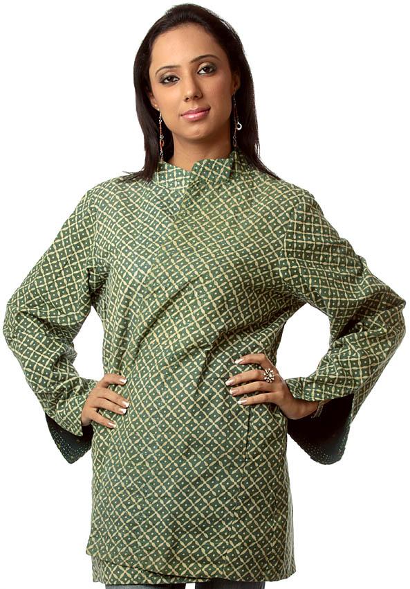 Green reversible block printed jacket from ranthambore
