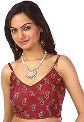 Maroon Bollywood Choli with Block-Printed Paisleys