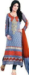 Steel-Gray Long Choodidaar Suit with Thread Embroidered Flowers on Neck and Crochet