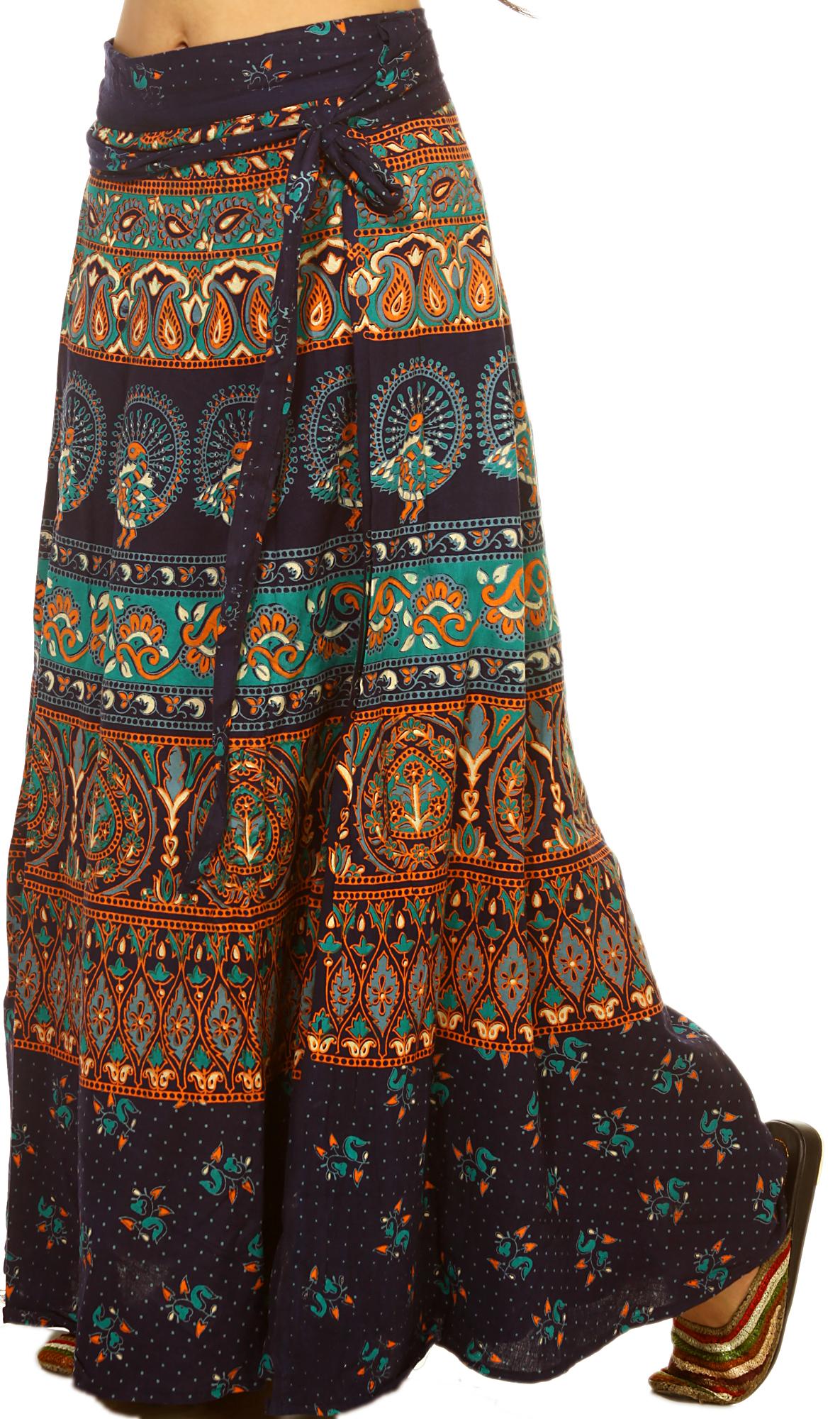 navy blue wrap around skirt with printed peacocks