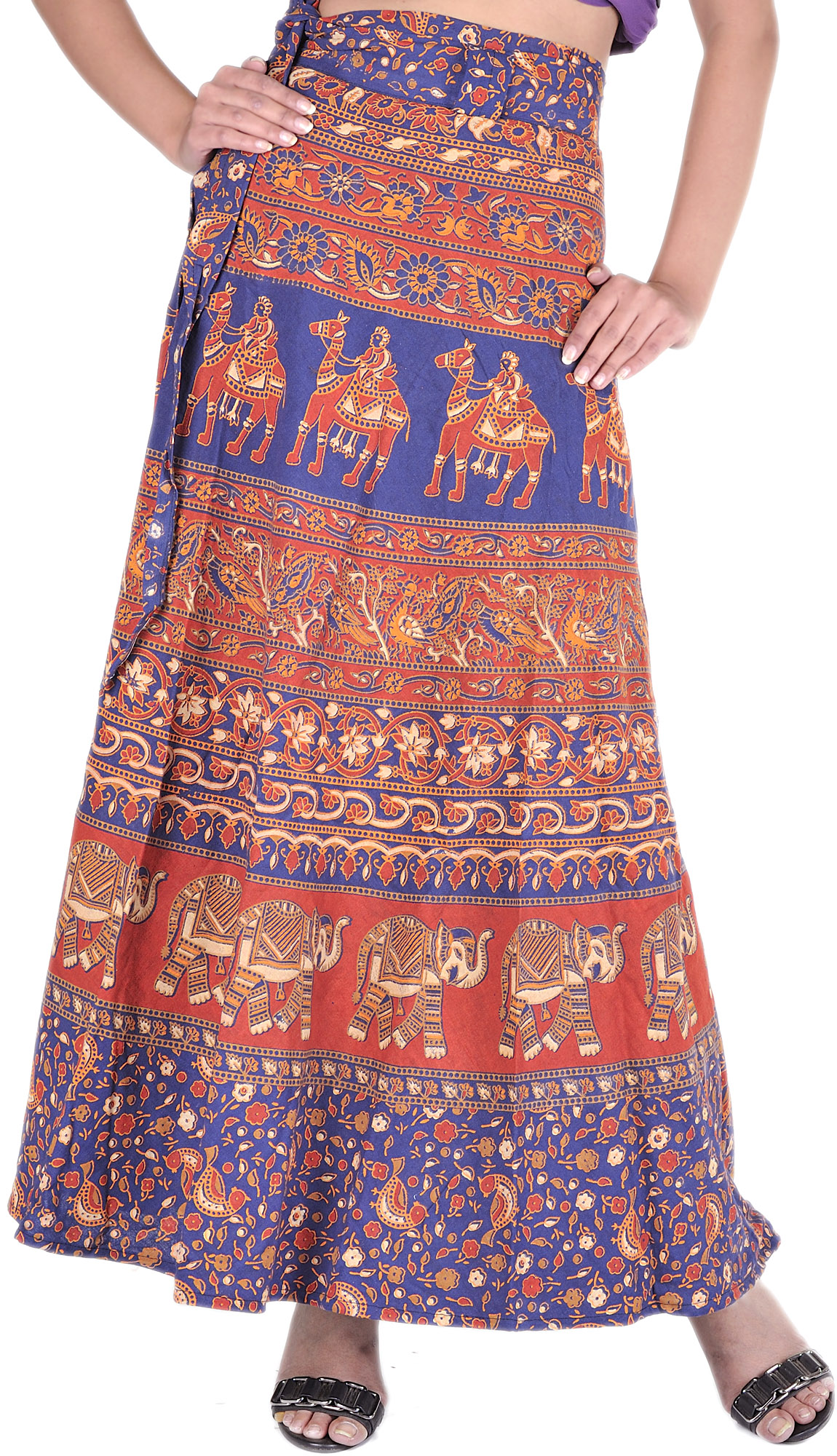 navy blue wrap around skirt with printed camels and