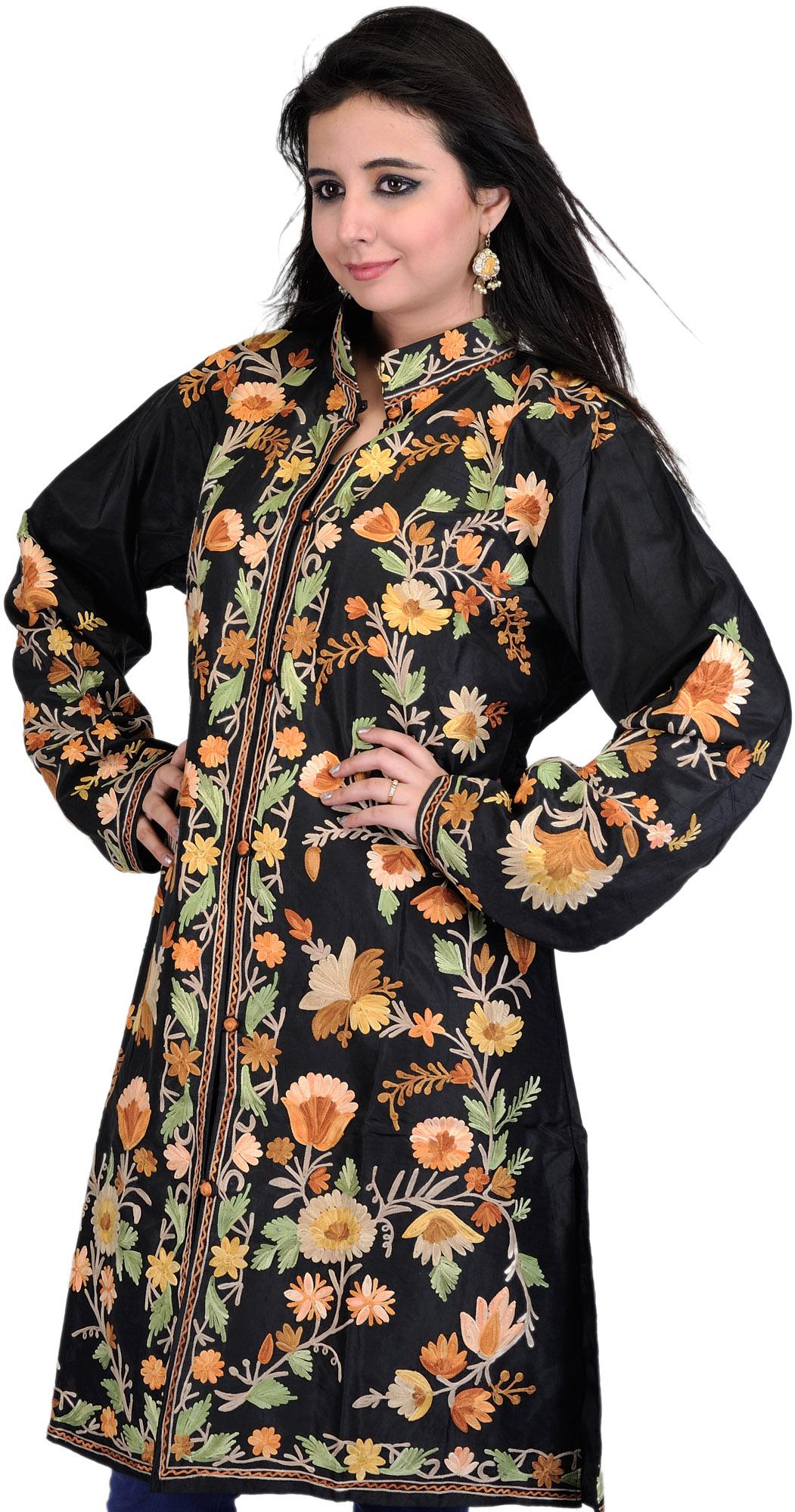 Black Long Kashmiri Jacket With Ari Embroidered Flowers