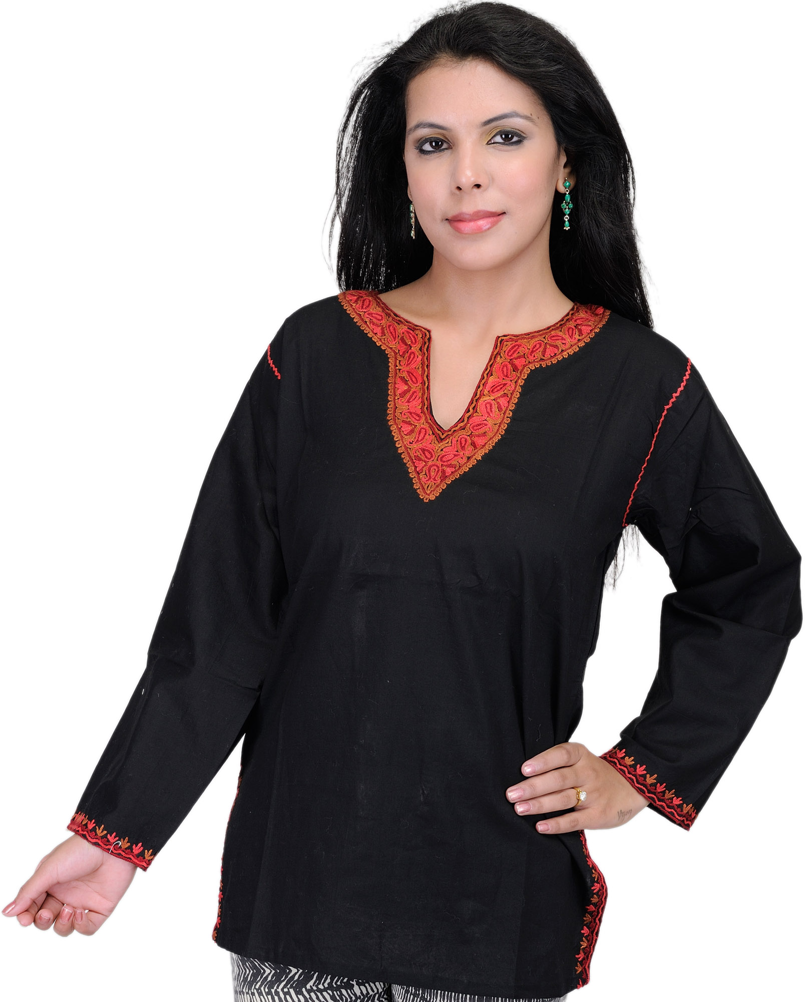 Kashmiri kurti with hand embroidery on neck