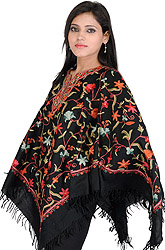 Poncho from Kashmir with Ari Embroidered Flowers by Hand