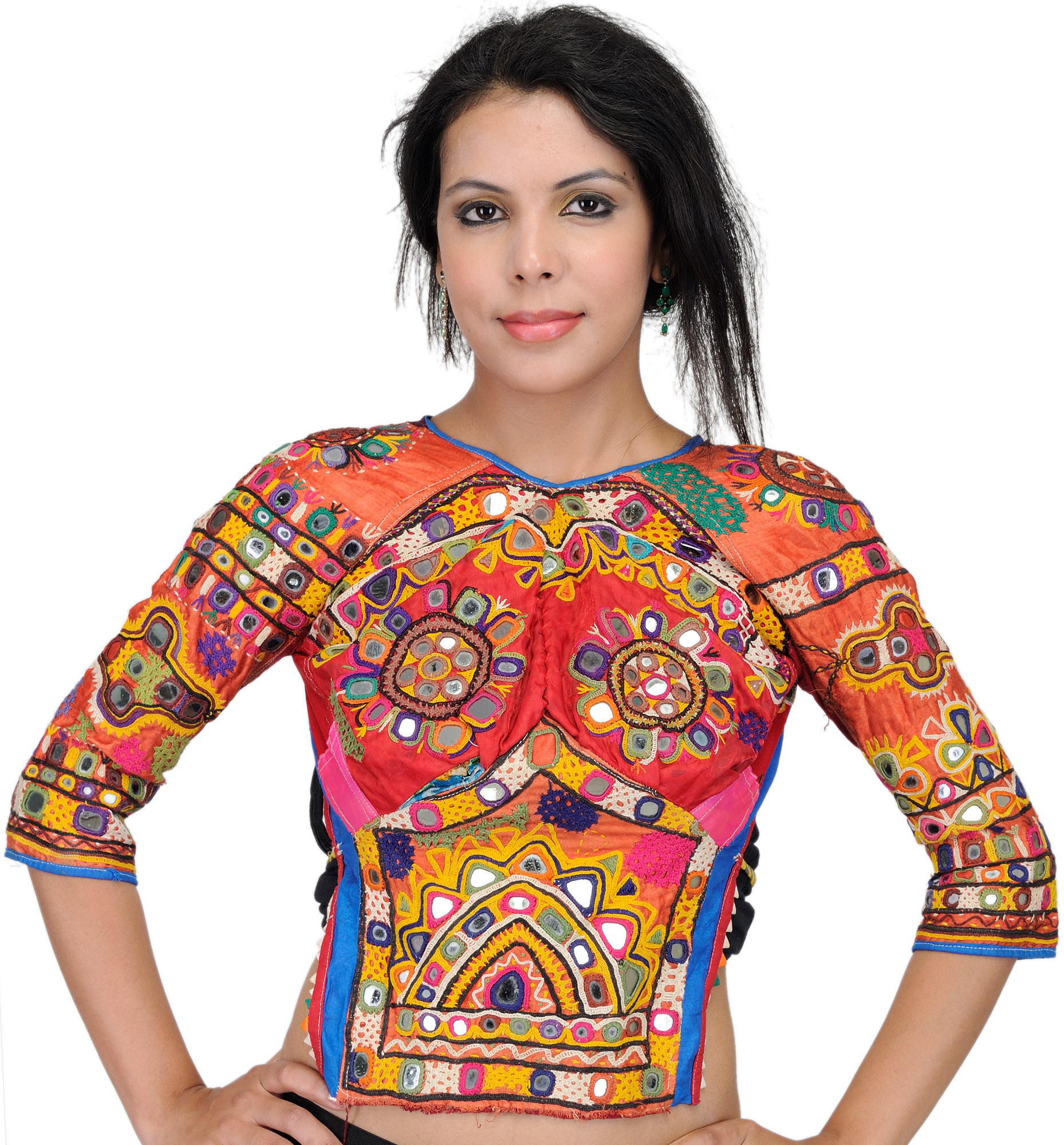 Orange rust backless choli from kutch with antiquated