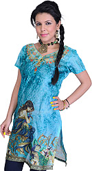 Capri-Blue Digital-Printed Kurti with Apsara and Peacock