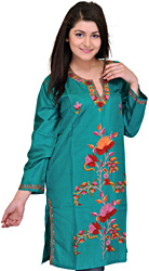 Long Kashmiri Kurti with Ari Embroidered Flowers by Hand
