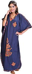 Estate-Blue Kashmiri Kaftan with Ari Embroidered Flowers