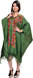 Deep-Green Kashmiri Cape with Hand Embroidered Flowers
