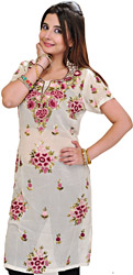 Long Phulkari Kurti with Crewel Embroidery Flowers